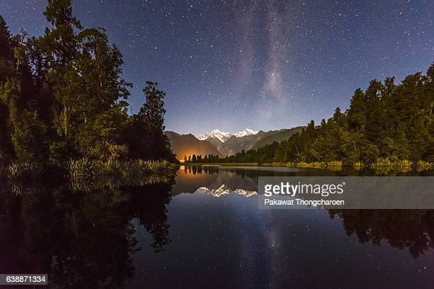 Reflection of Mt. Cook at Lake Matheson, South Island, New Zealand