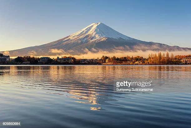 reflection of mt.Fuji in Kawaguchiko lake , Fuji is landmark mountain and popular travel destination in Japan