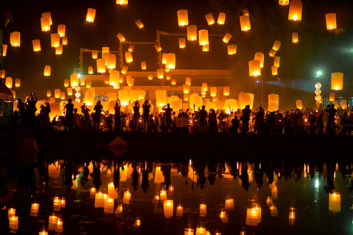 reflection of numerous lanterns in the sky, yeepeng festival , Chiangmai, Thailand - gettyimageskorea