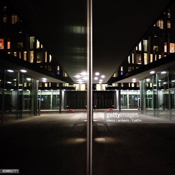 Reflection Of Parking Lot On Closed Door