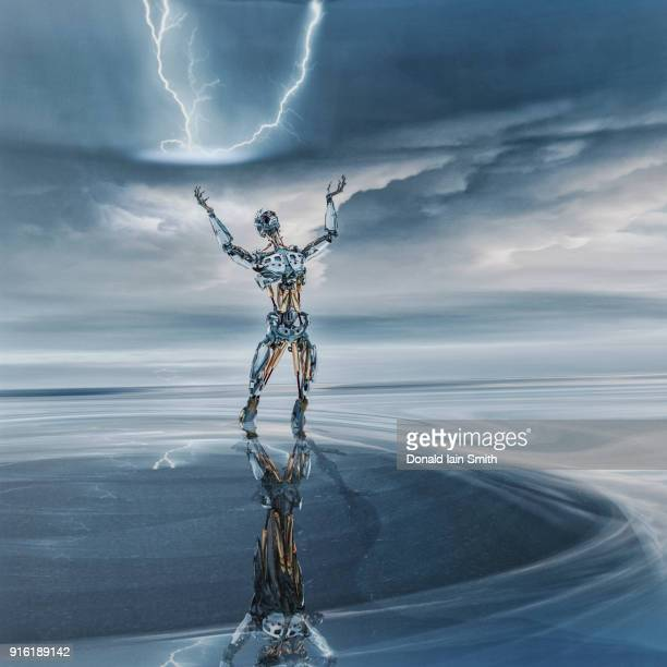 reflection of robot looking up at lightning - 人の姿 ストックフォトと画像