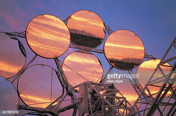 reflection of sky in solar array panels, phoenix, arizona, usa - solar energy stock pictures, royalty-free photos & images
