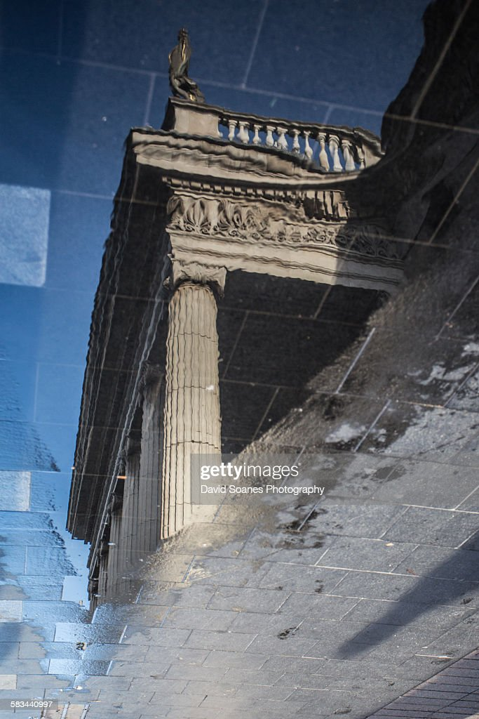 Reflection of the General Post Office in Dublin : Stock Photo