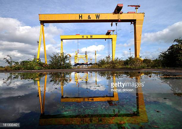 Reflection of the harland wolff shipyard cranes Belfast