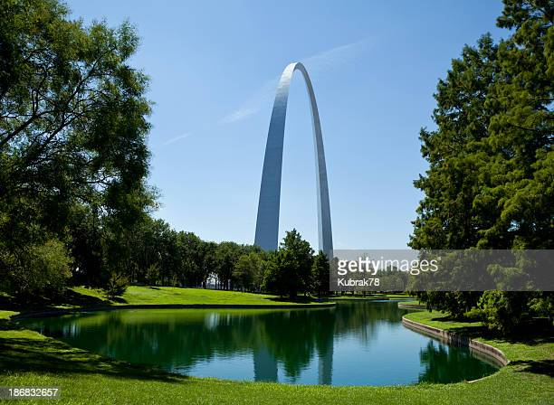 Reflection of the St Louis Gateway Arch seen from a park