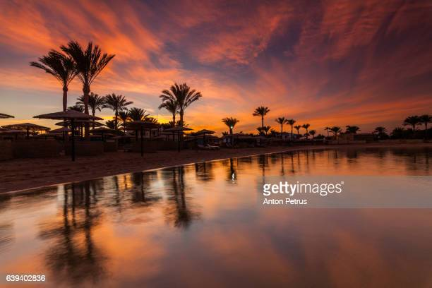 Reflection of the sunset on the beach. Egypt