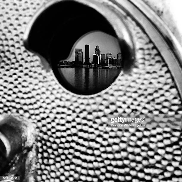 Reflection Of Towers On Coin-Operated Binocular