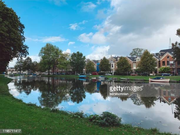reflection of trees and buildings in lake - bortes stockfoto's en -beelden