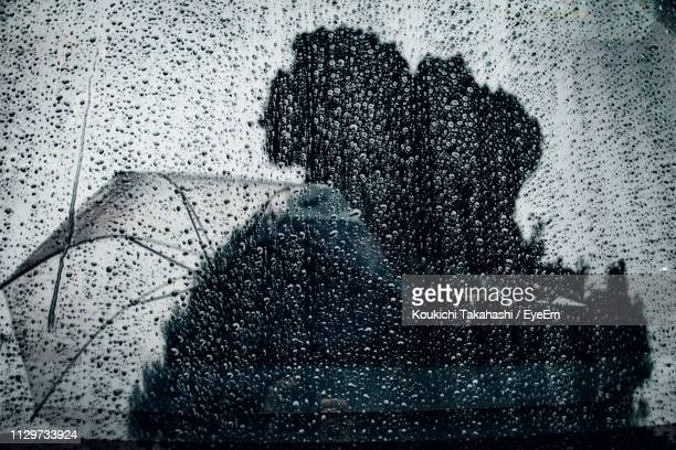 Reflection Of Trees And Umbrella On Wet Window