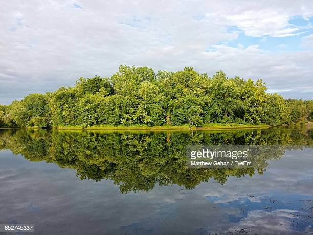 reflection of trees in calm lake - state college - fotografias e filmes do acervo