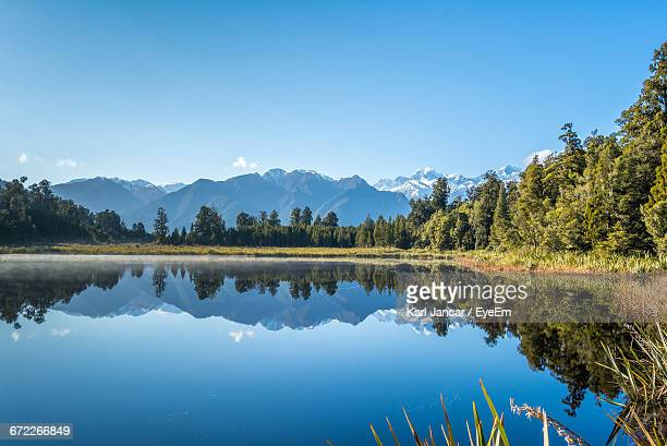 reflection of trees in calm lake - reflection lake stock photos and pictures