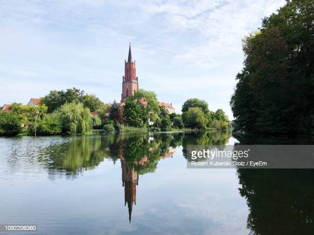 reflection of trees in lake against sky - land brandebourg photos et images de collection
