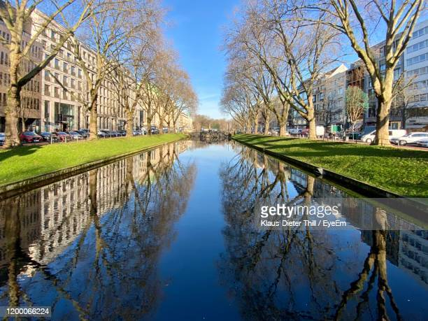 reflection of trees in lake against sky - klaus-dieter thill stock-fotos und bilder