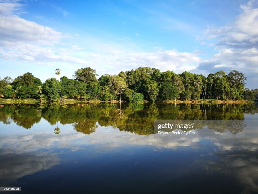 Reflection Of Trees In Lake Against Sky : Stock Photo