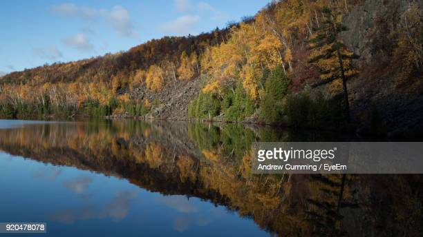 reflection of trees in lake against sky - duluth minnesota stock pictures, royalty-free photos & images