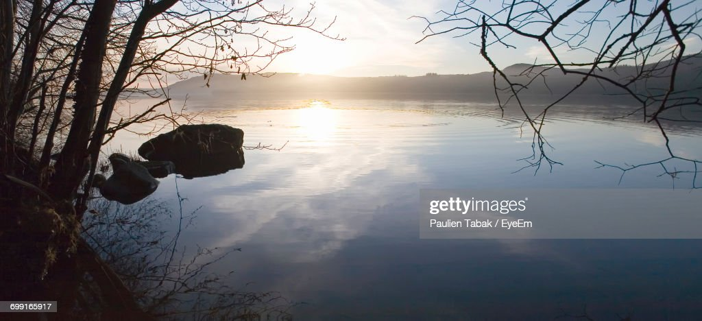 Reflection Of Trees In Lake At Sunset : Foto stock