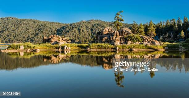 reflection of trees on lake against sky - big bear lake stock pictures, royalty-free photos & images