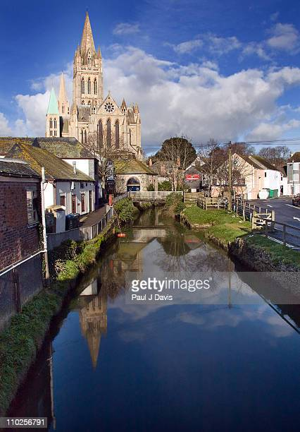 reflection of truro cathedral - truro cornwall stock pictures, royalty-free photos & images