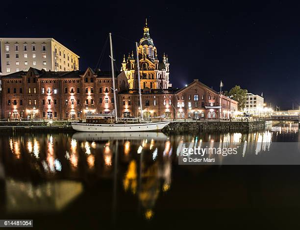 A reflection of Uspenski Cathedral in Helsinki at night