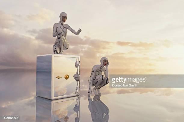Reflection of women robots guarding safe