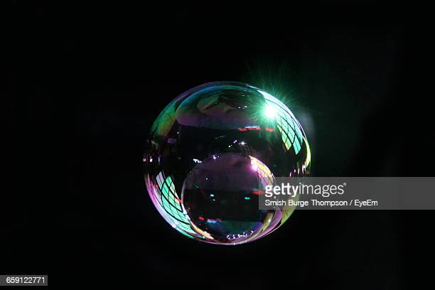 Reflection On Bubble On Black Background