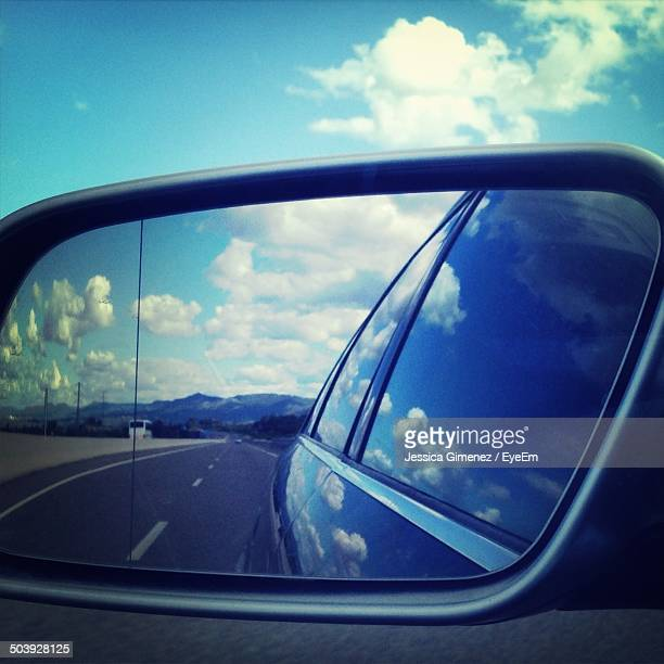 Reflection on car mirror