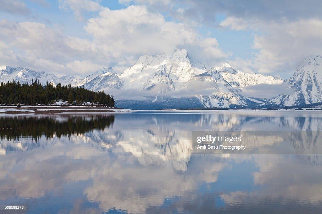 Reflection on Jackson lake, Grand Teton : Stock Photo