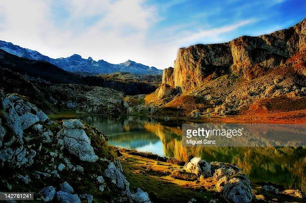 Reflection on Lake Ercina in winter, Asturies