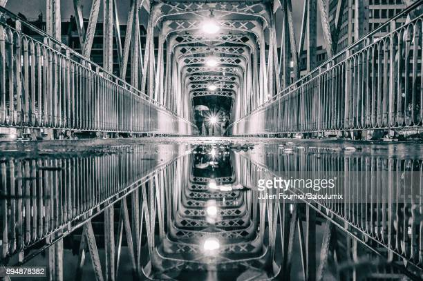 reflection on the bridge of the port of arsenal - bastille photos et images de collection