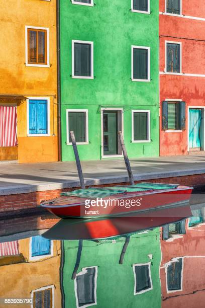 Reflection On The Canal of Colorful Buildings of Burano, Venice, Italy