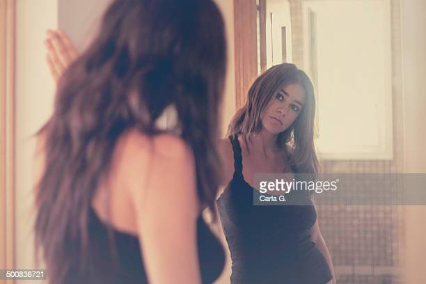 reflection - woman in mirror stock photos and pictures