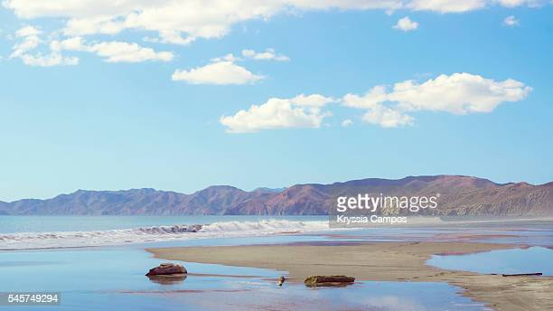 reflections along playa naranjo, costa rica. witch's rock on back - parque nacional de santa rosa fotografías e imágenes de stock