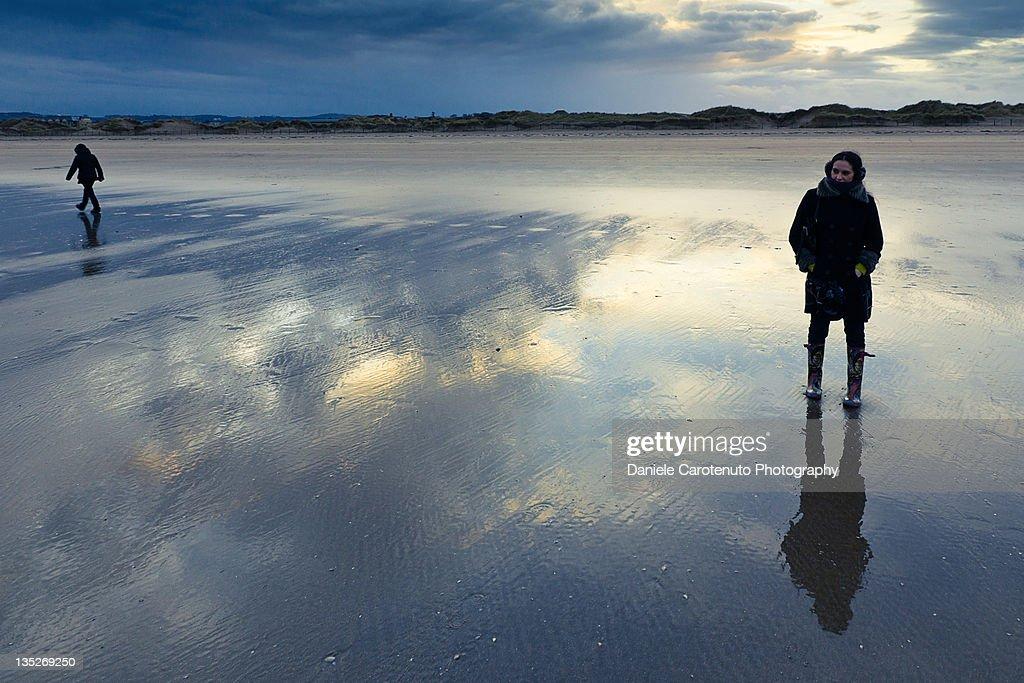 Reflections at beach : Stock Photo