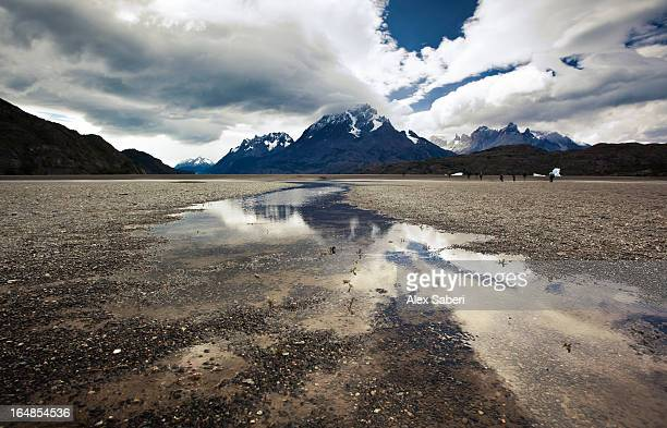 reflections in a puddle of meltwater in torres del paine national park. - alex saberi foto e immagini stock