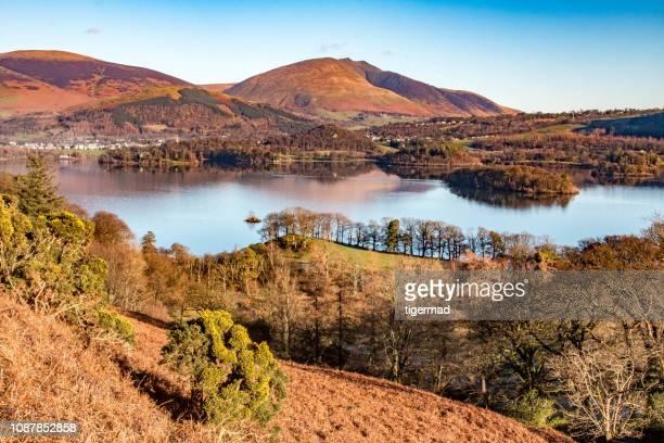 reflecties in derwent water, cumbria - cumbria stockfoto's en -beelden