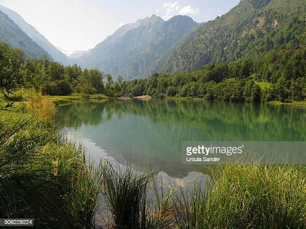 Reflections in Klammsee (Lake Klamm) in summer, Austria