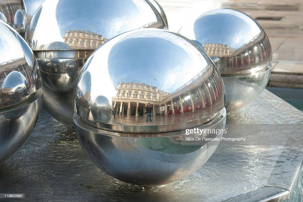 Reflections in Palais Royal Fountain : Stock Photo
