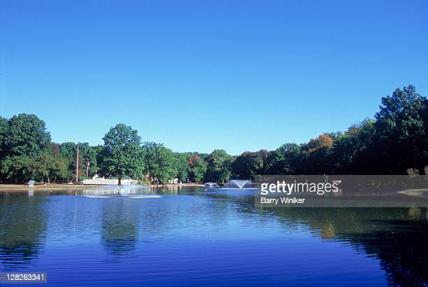 reflections in pond, ridgewood, nj - ridgewood new jersey stock pictures, royalty-free photos & images