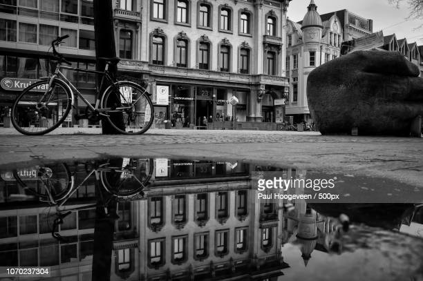 reflections in shopping street antwerpen - hoogeveen stock pictures, royalty-free photos & images