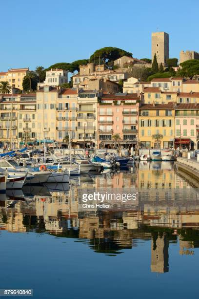 Reflections in the Harbor and View of Le Suquet Old Town Cannes