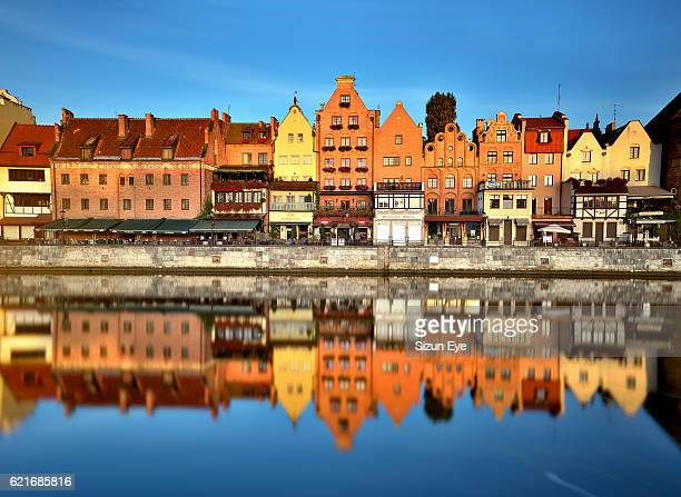 Reflections in the Motlawa River in the old town of Gdansk, Poland.