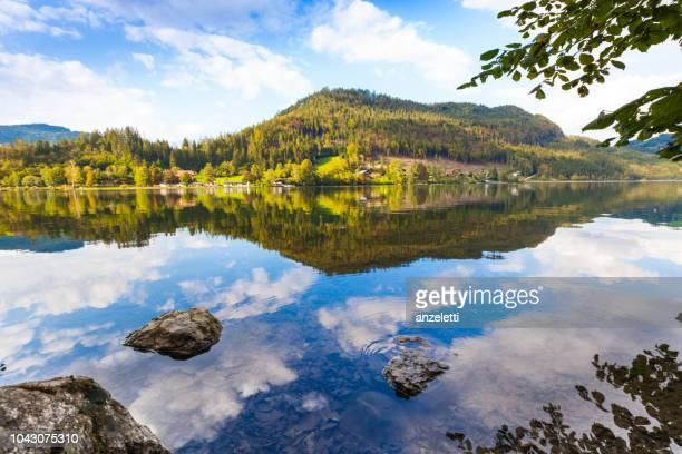 reflections of a mountain lake - reflection lake stock photos and pictures