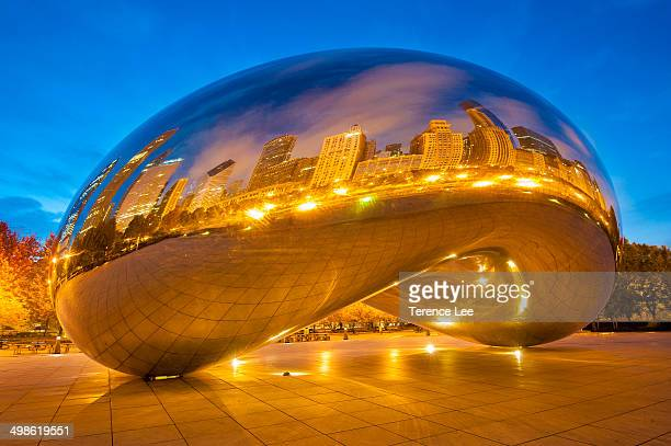 CONTENT] Reflections of ChiTown on Chicago Bean Cloud Gate Millennium Park Illinois at sunrise