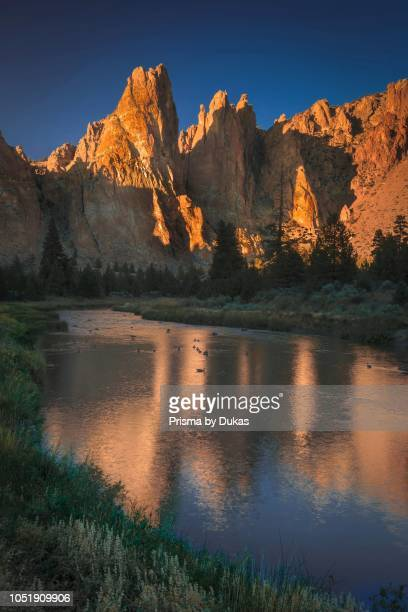 Reflections of Smith Rock State Park Terrebonne Central Oregon Pacific Northwest.
