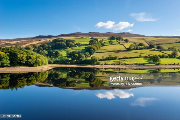 reflections on ladybower reservoir, peak district, derbyshire - blue stock pictures, royalty-free photos & images