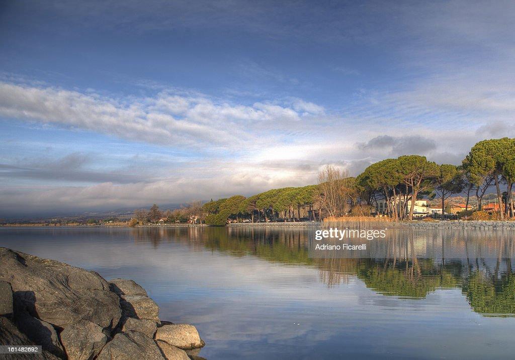 Reflections on Lake Bolsena : Foto stock