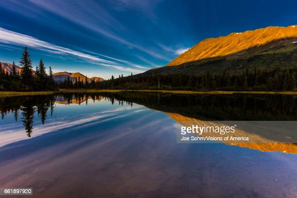 Reflections on Rainbow Lake the Aleutian Mountain Range near Willow Alaska