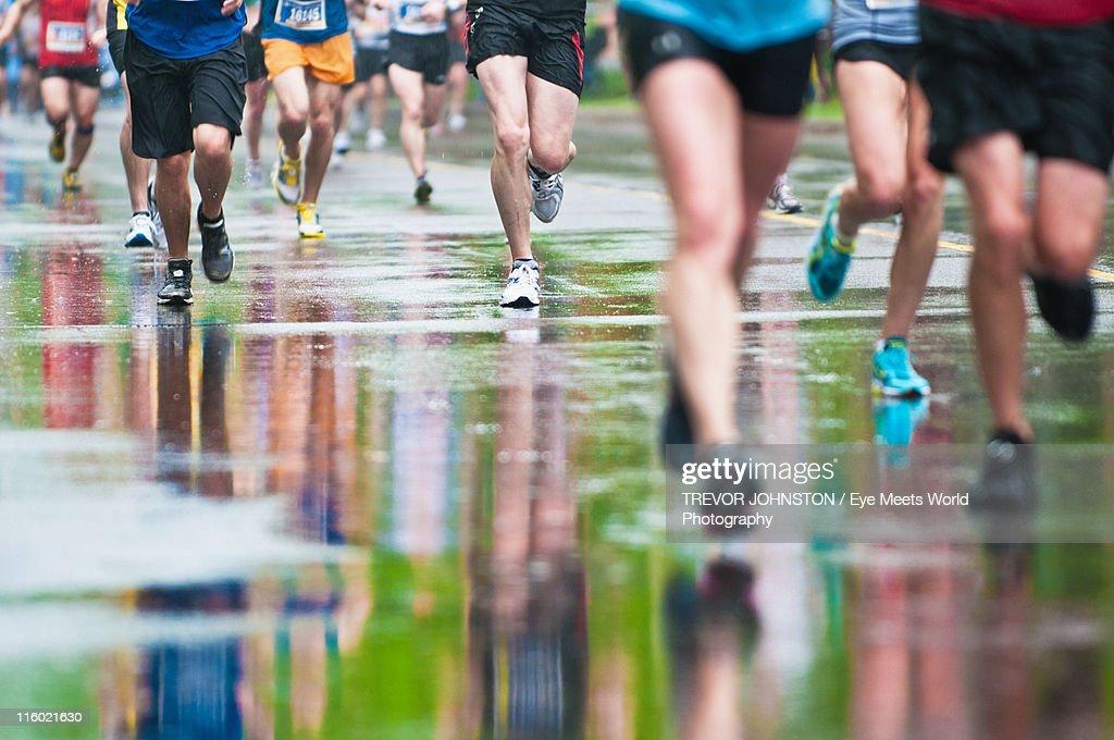 Reflections on rainy Marathon : Stock Photo