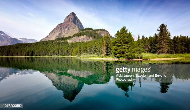 Reflections on Swiftcurrent Lake at Glacier National Park, Montana