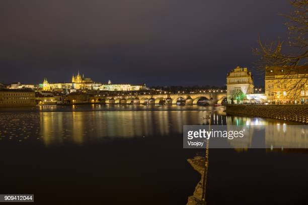 reflections on the vltava river and the moving birds and ducks at night, prague, czech republic - vsojoy stockfoto's en -beelden